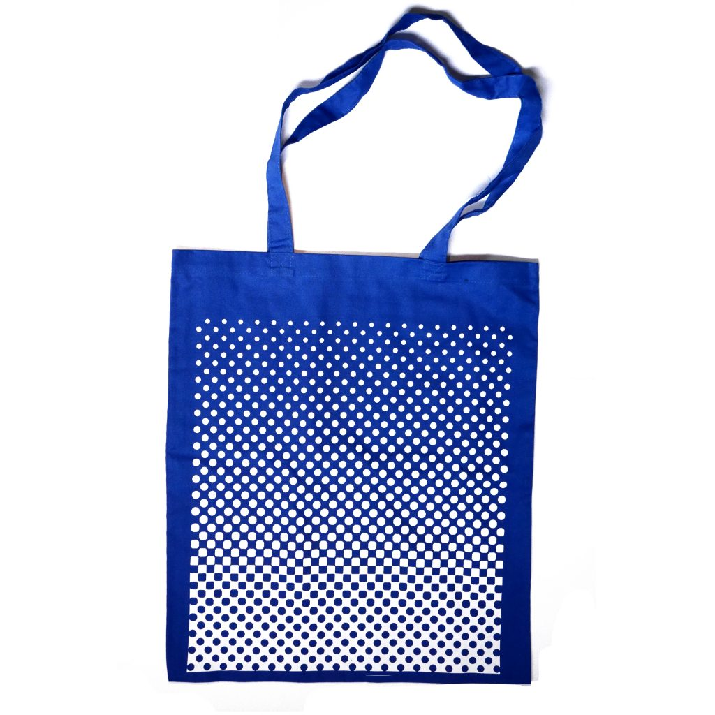 Gradient of Dots in blue - screen printed tote bag - Loloprints.com